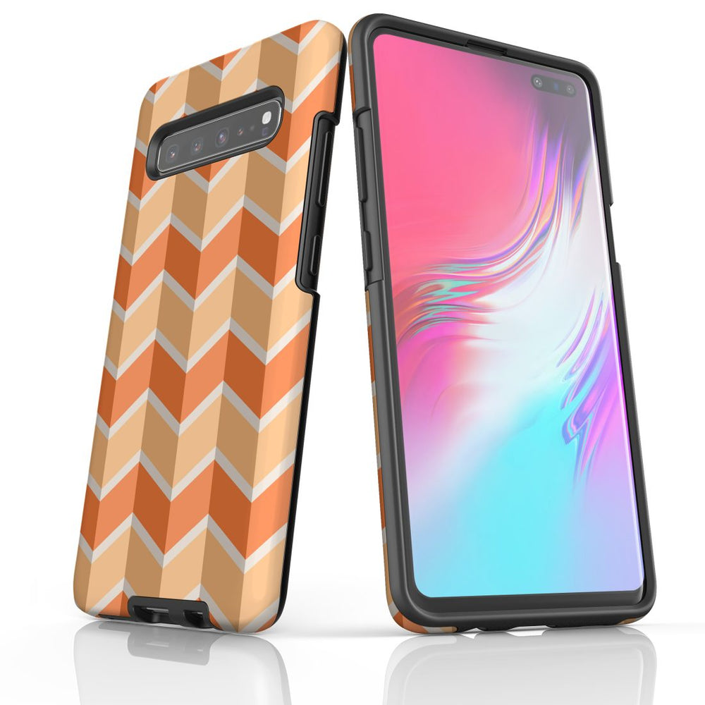 For Samsung Galaxy S10 5G Protective Case, Zigzag Salmon Pattern