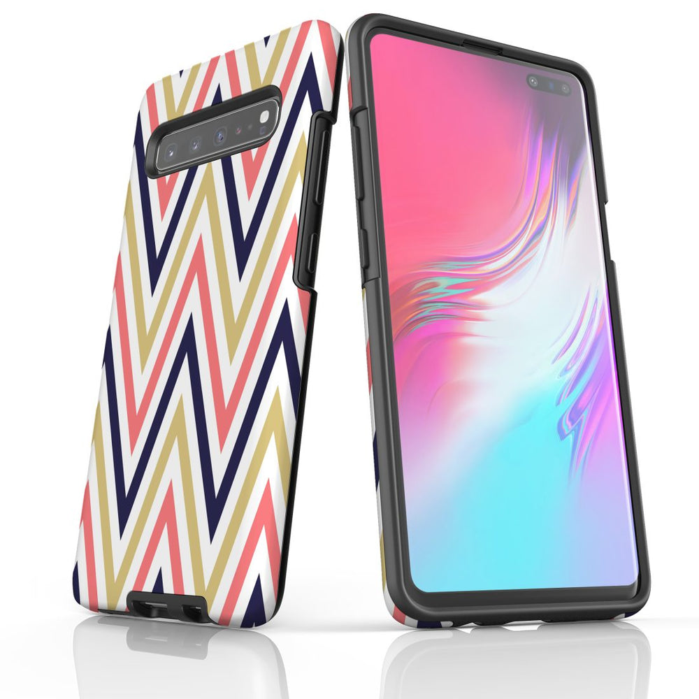 For Samsung Galaxy S10 5G Protective Case, Zigzag Salmon Purple Pattern