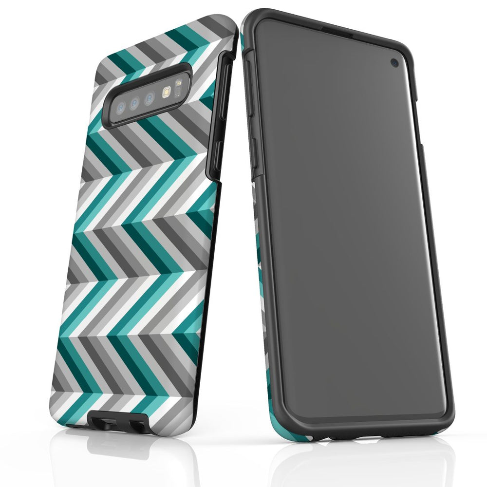 For Samsung Galaxy S10 Protective Case, Zigzag Blue Grey Pattern
