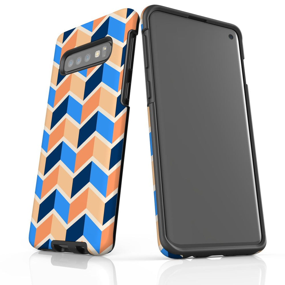 For Samsung Galaxy S10 Protective Case, Zigzag Blue Orange Pattern