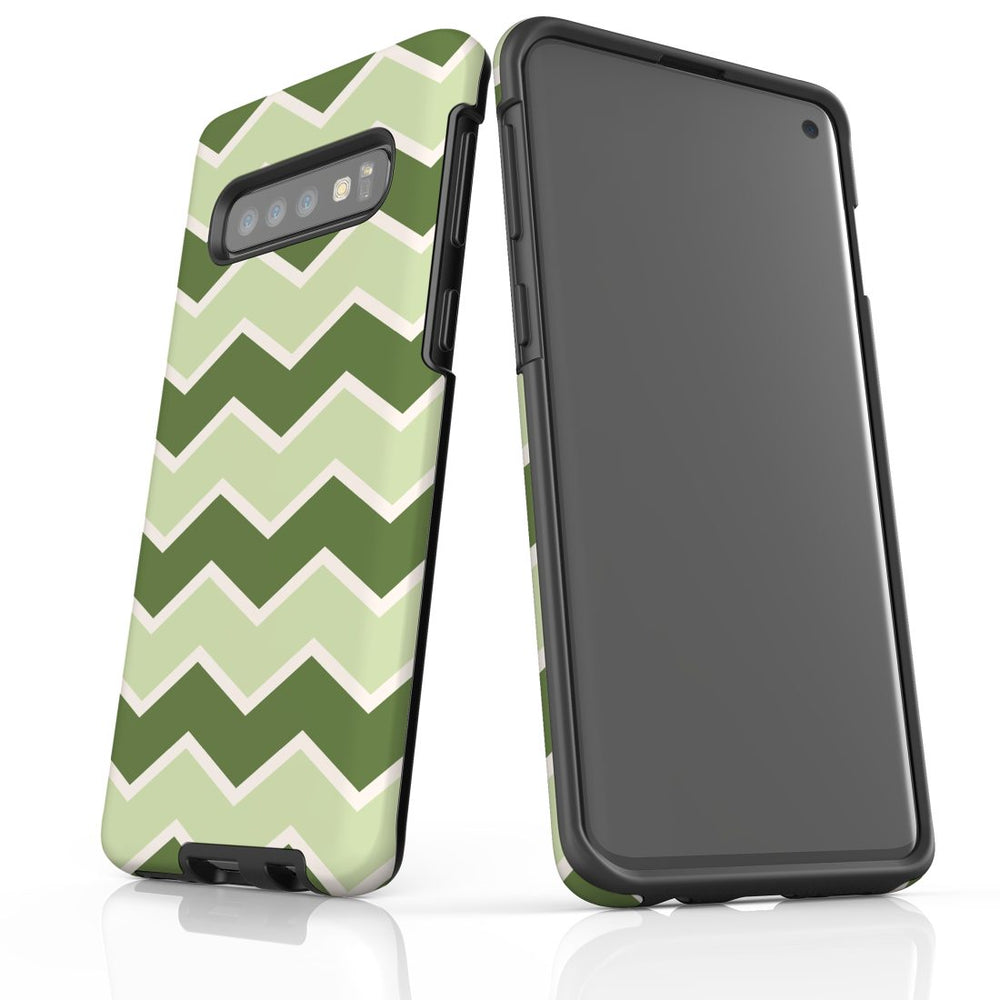 For Samsung Galaxy S10 Protective Case, Zigzag Green Pattern