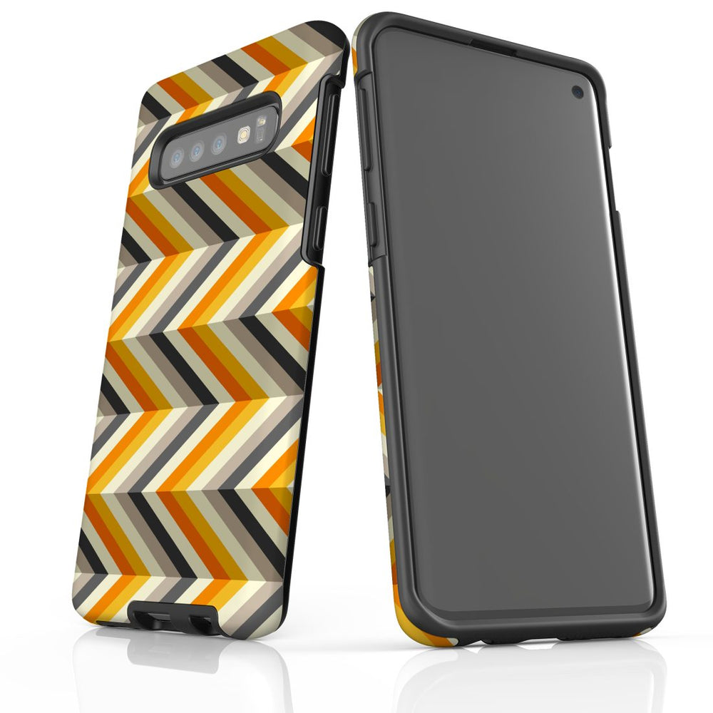 For Samsung Galaxy S10 Protective Case, Zigzag Left Right Yellow Pattern