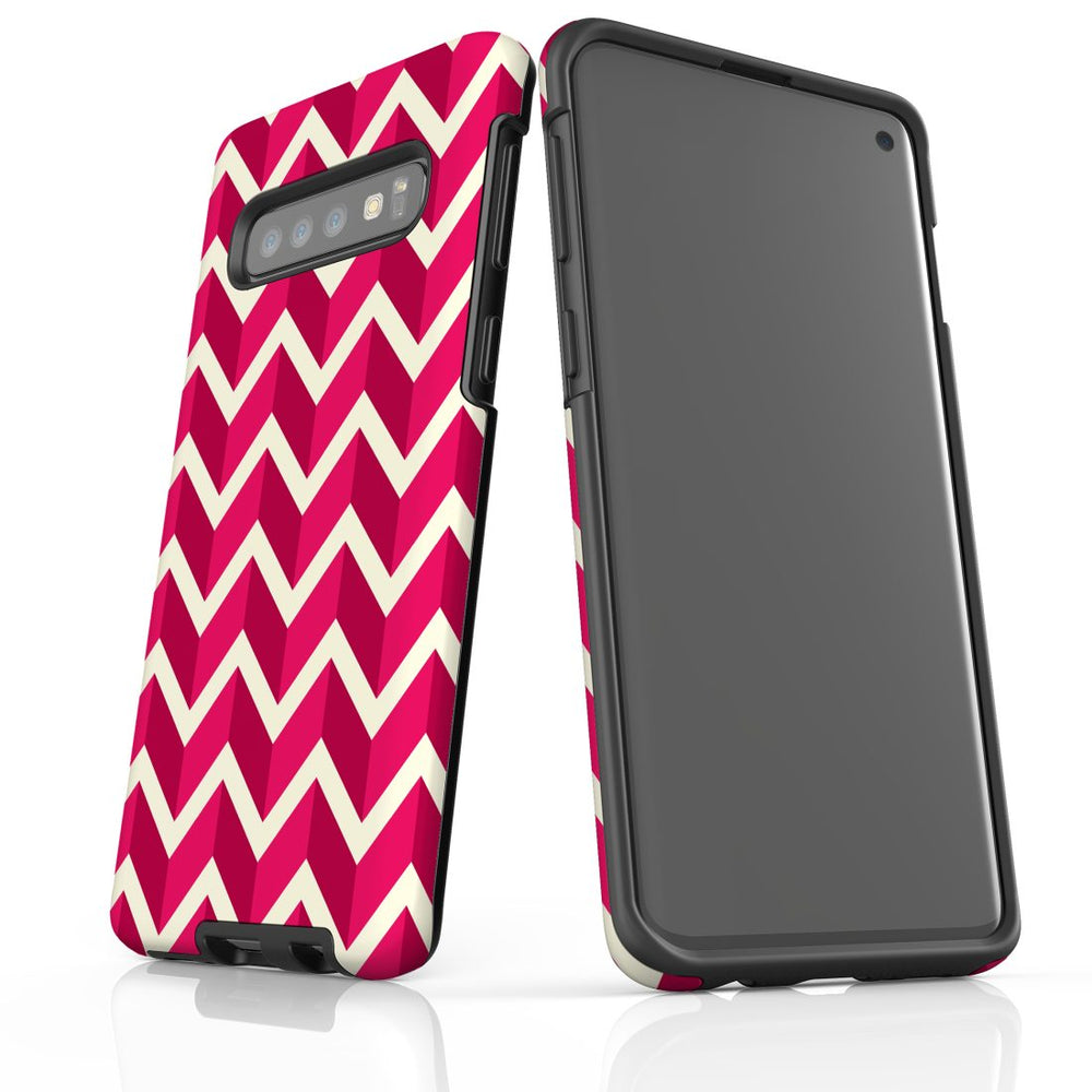For Samsung Galaxy S10 Protective Case, Zigzag Magenta Pattern