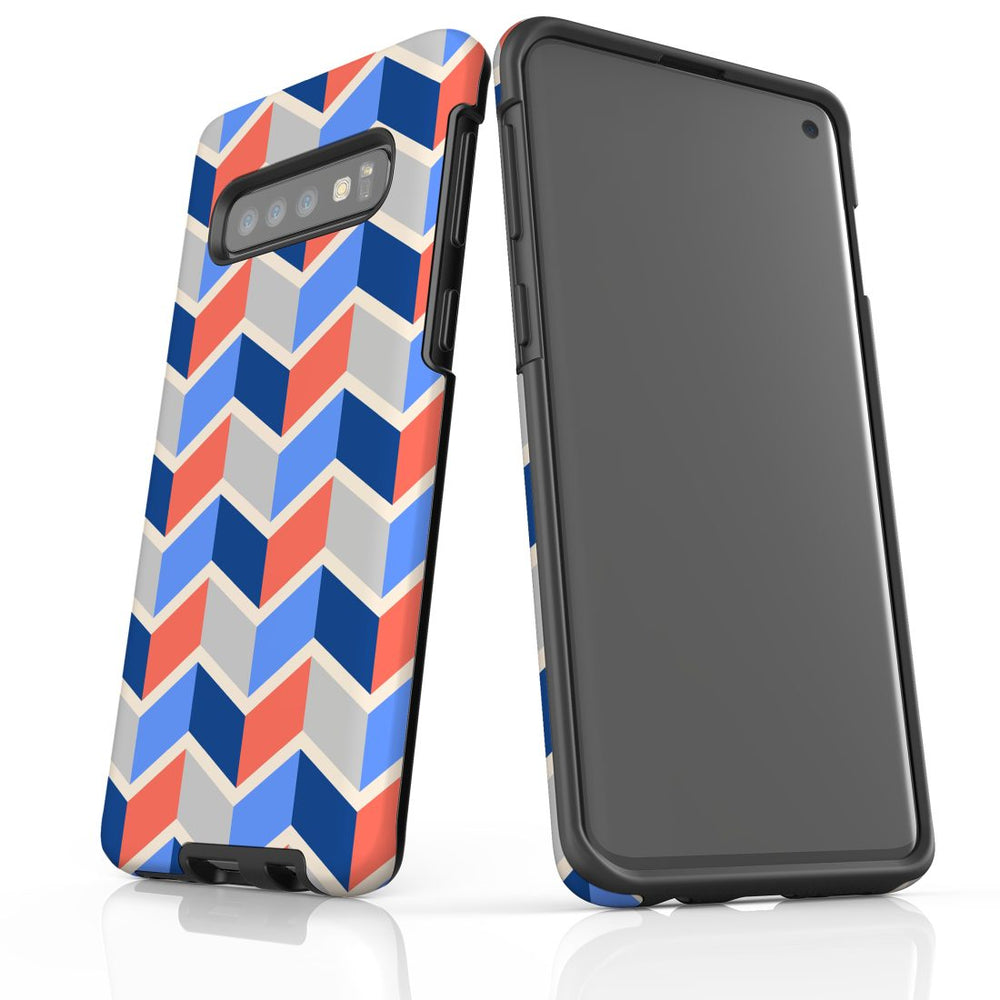 For Samsung Galaxy S10 Protective Case, Zigzag Salmon Blue Pattern