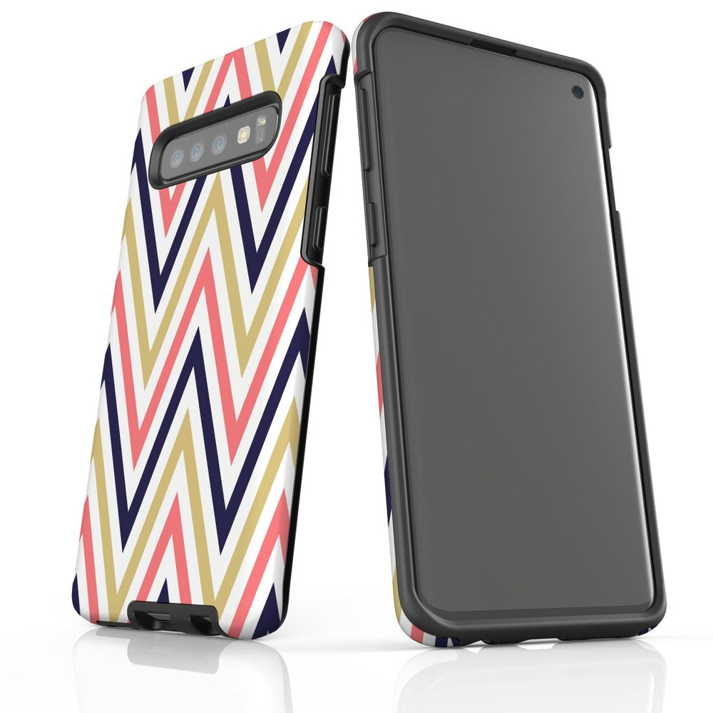 For Samsung Galaxy S10 Protective Case, Zigzag Salmon Purple Pattern