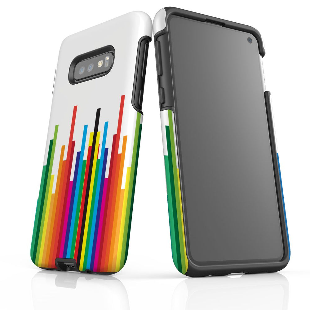 For Samsung Galaxy S10e Protective Case, Rainbow Bar Pattern