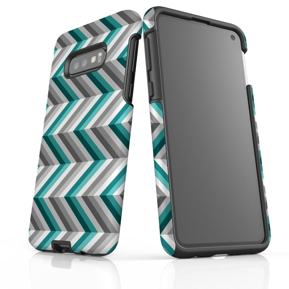For Samsung Galaxy S10e Protective Case, Zigzag Blue Grey Pattern