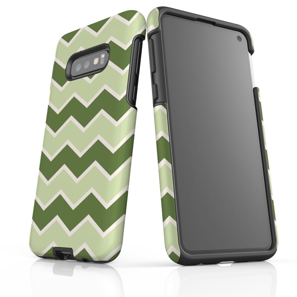 For Samsung Galaxy S10e Protective Case, Zigzag Green Pattern