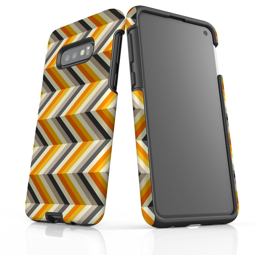 For Samsung Galaxy S10e Protective Case, Zigzag Left Right Yellow Pattern