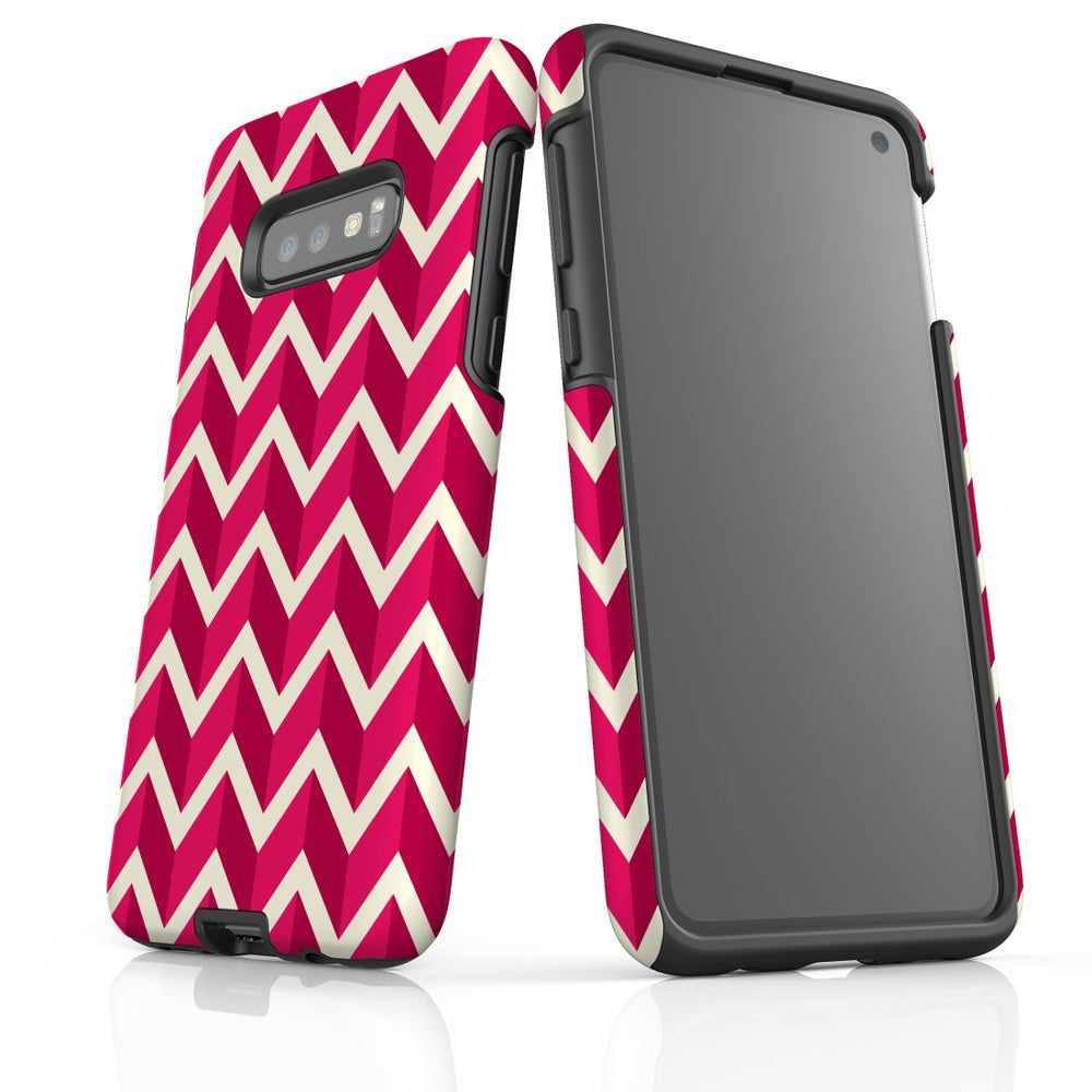 For Samsung Galaxy S10e Protective Case, Zigzag Magenta Pattern