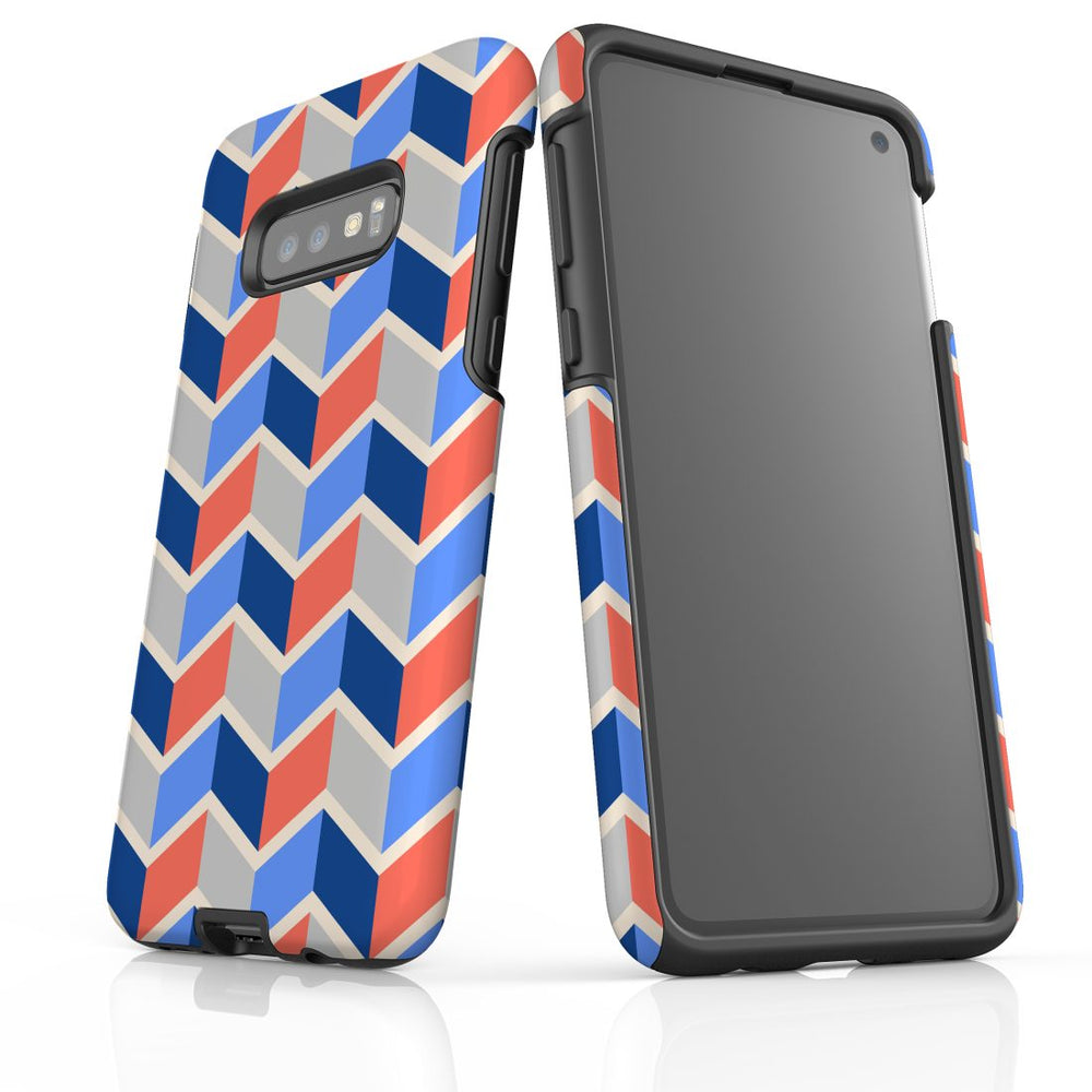 For Samsung Galaxy S10e Protective Case, Zigzag Salmon Blue Pattern