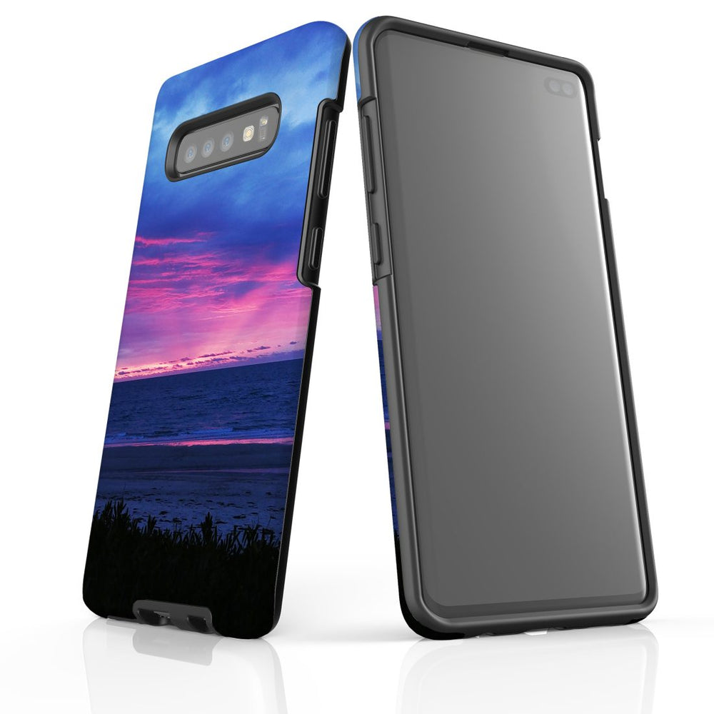 Samsung Galaxy S10+ Plus Case Protective Cover, Sunset at the Beach