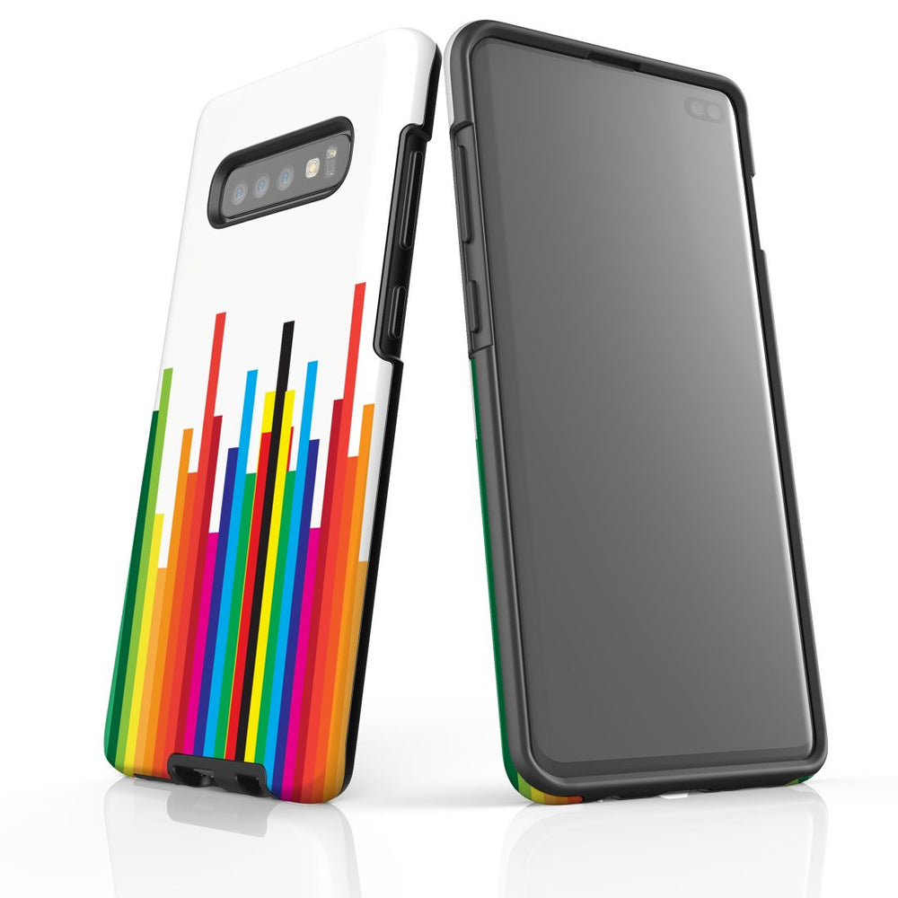 For Samsung Galaxy S10 Plus Protective Case, Rainbow Bar Pattern