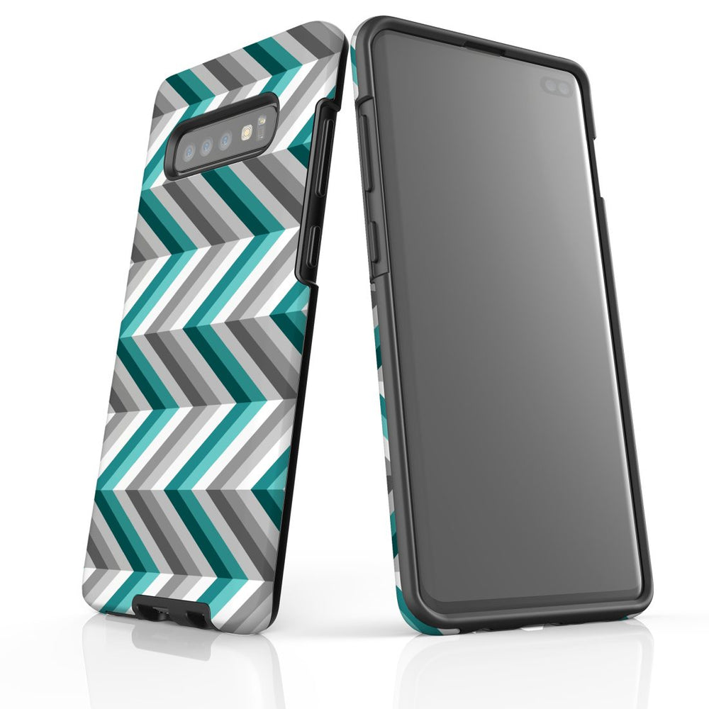 For Samsung Galaxy S10 Plus Protective Case, Zigzag Blue Grey Pattern