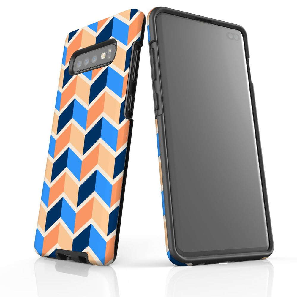For Samsung Galaxy S10 Plus Protective Case, Zigzag Blue Orange Pattern