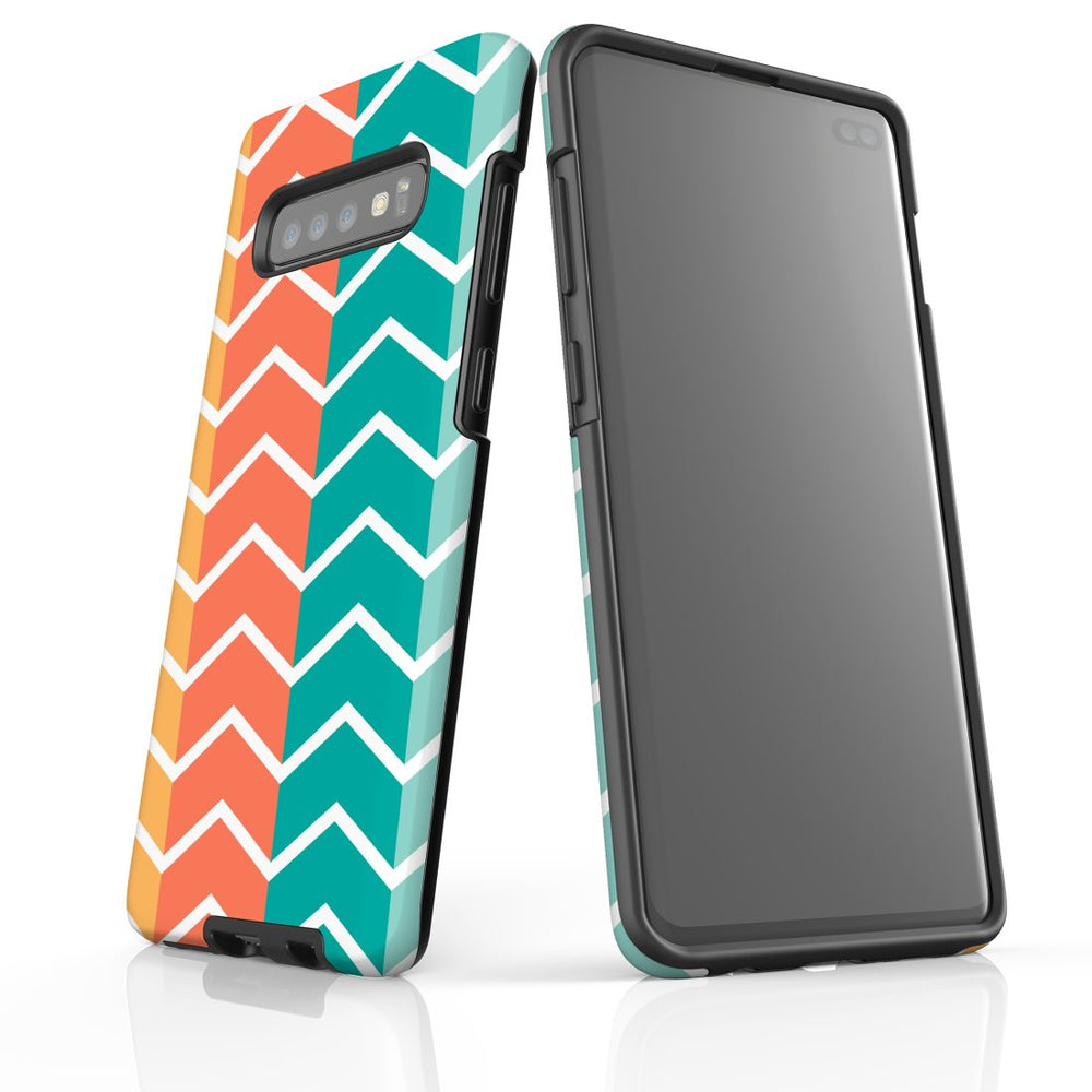 For Samsung Galaxy S10 Plus Protective Case, Zigzag Colorful Pattern