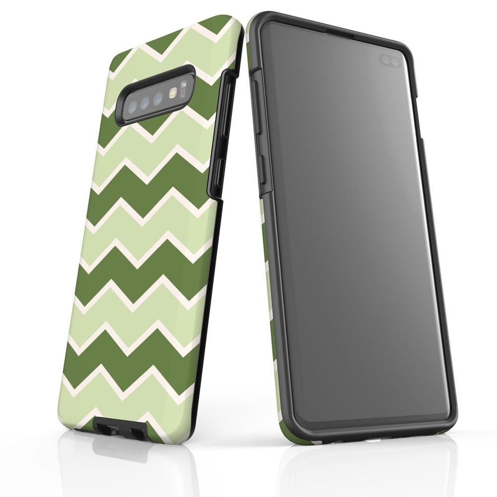 For Samsung Galaxy S10 Plus Protective Case, Zigzag Green Pattern