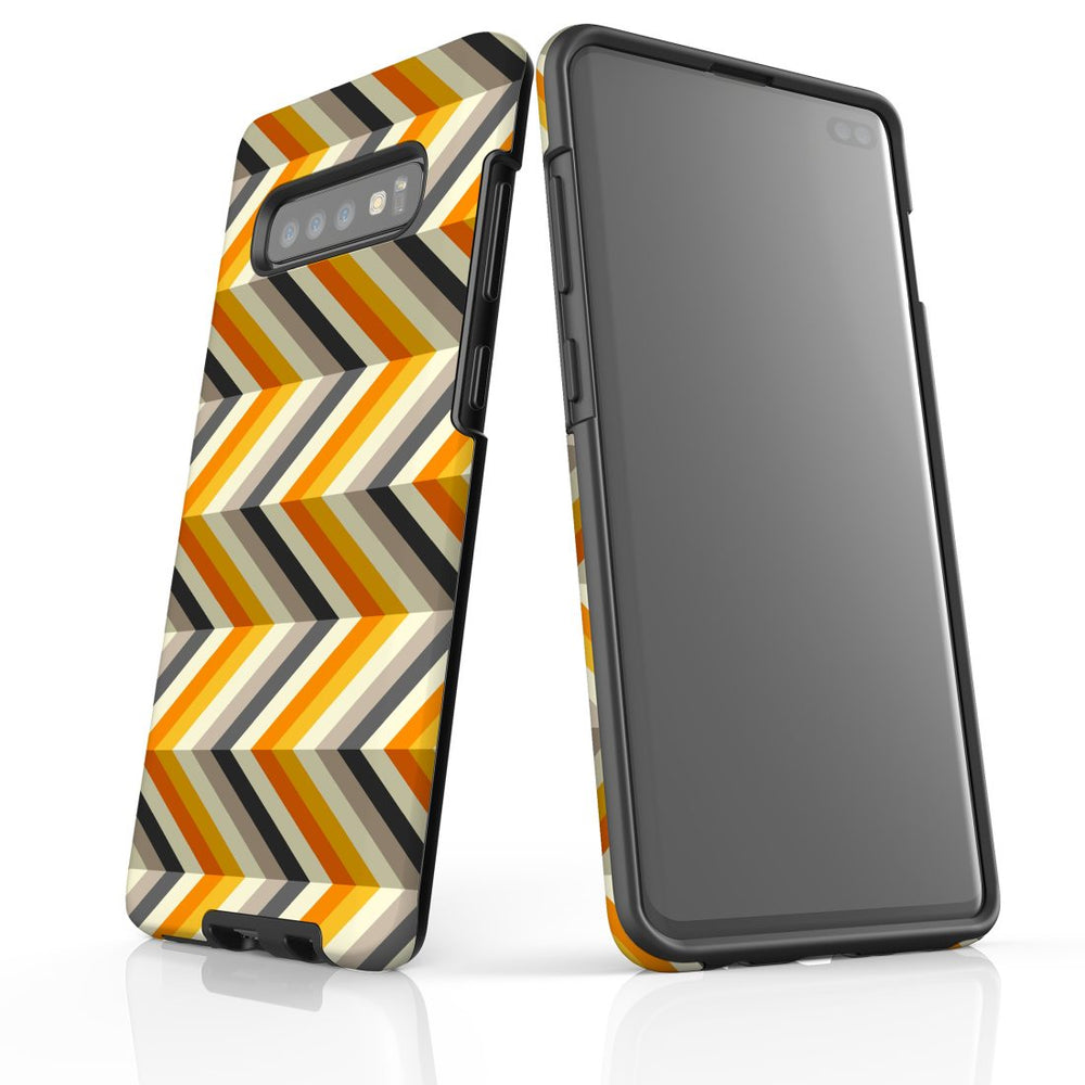 For Samsung Galaxy S10 Plus Protective Case, Zigzag Left Right Yellow Pattern