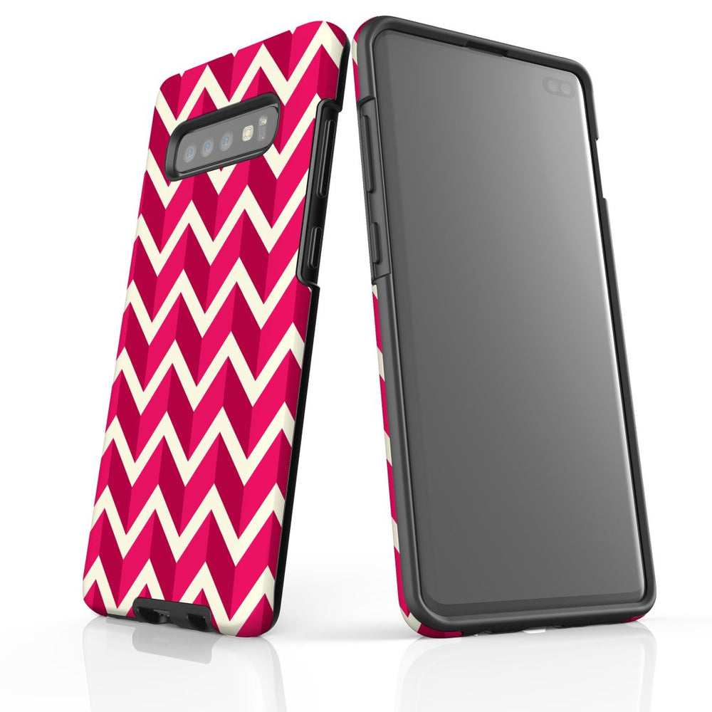 For Samsung Galaxy S10 Plus Protective Case, Zigzag Magenta Pattern