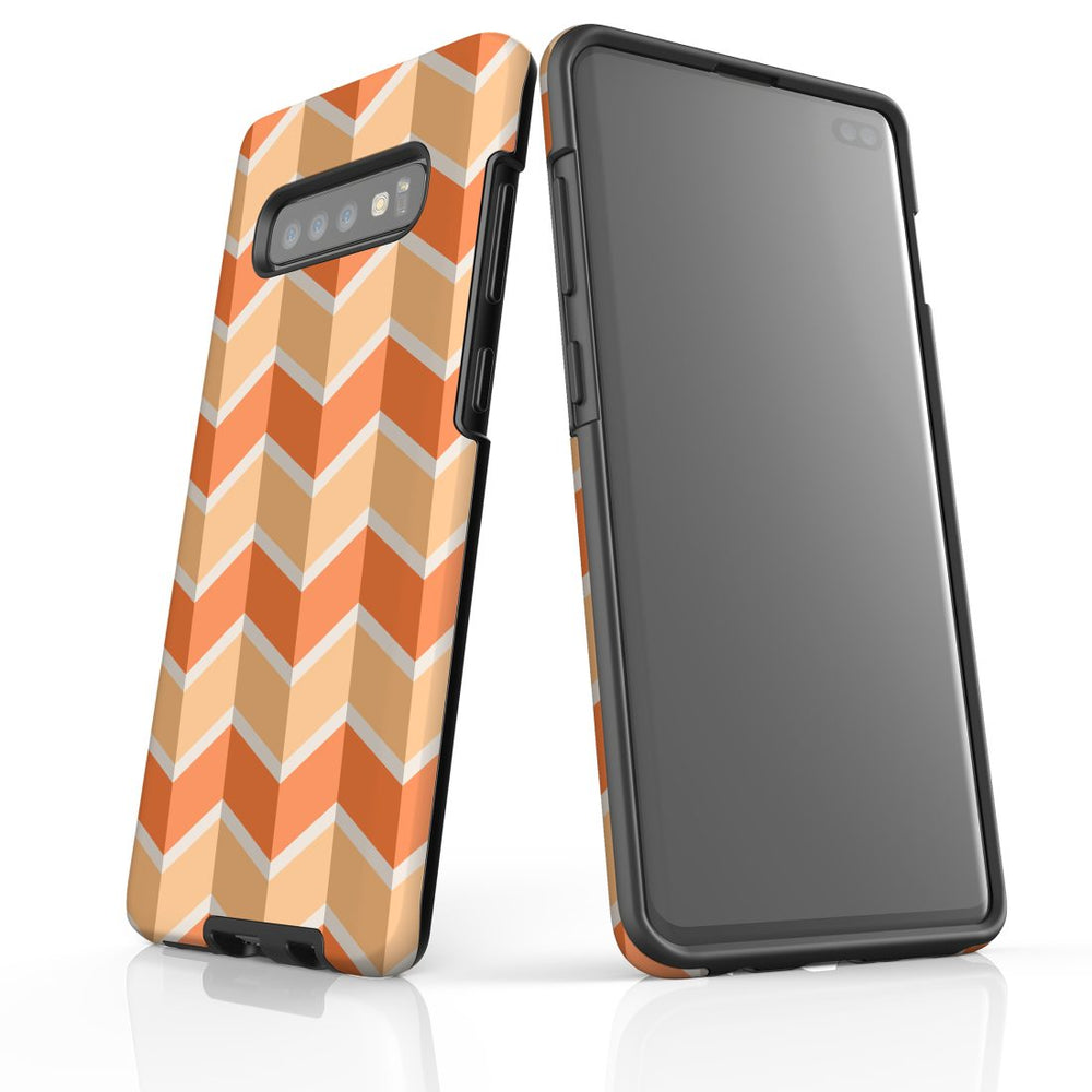 For Samsung Galaxy S10 Plus Protective Case, Zigzag Salmon Pattern