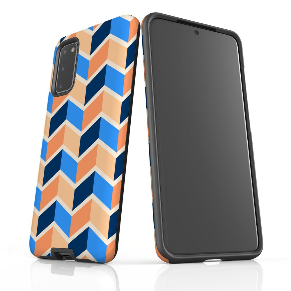 For Samsung Galaxy S20 Protective Case, Zigzag Blue Orange Pattern