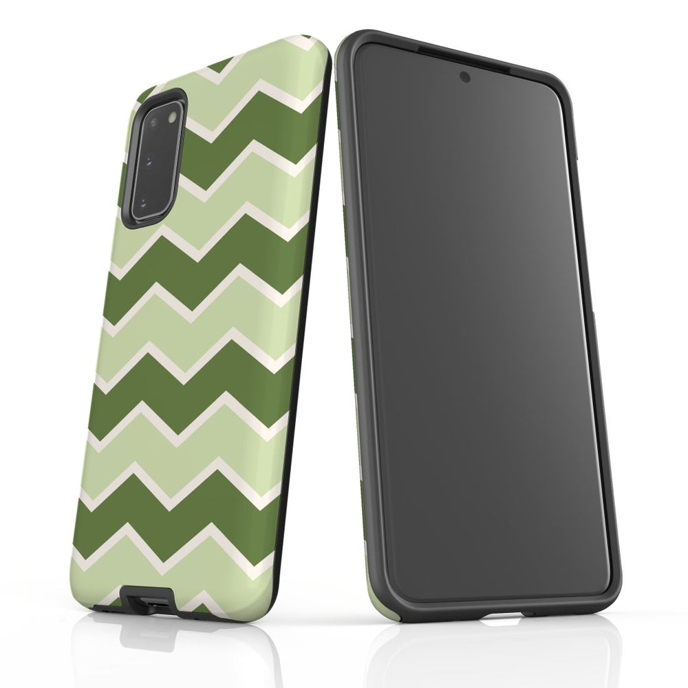 For Samsung Galaxy S20 Protective Case, Zigzag Green Pattern