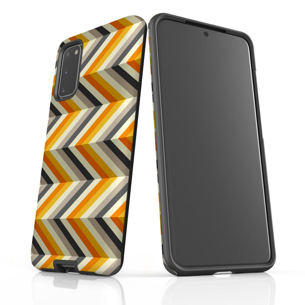 For Samsung Galaxy S20 Protective Case, Zigzag Left Right Yellow Pattern