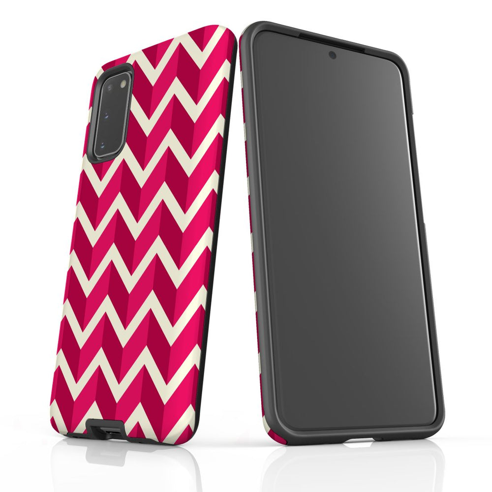 For Samsung Galaxy S20 Protective Case, Zigzag Magenta Pattern