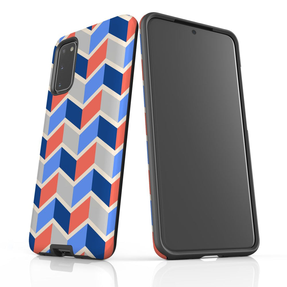 For Samsung Galaxy S20 Protective Case, Zigzag Salmon Blue Pattern