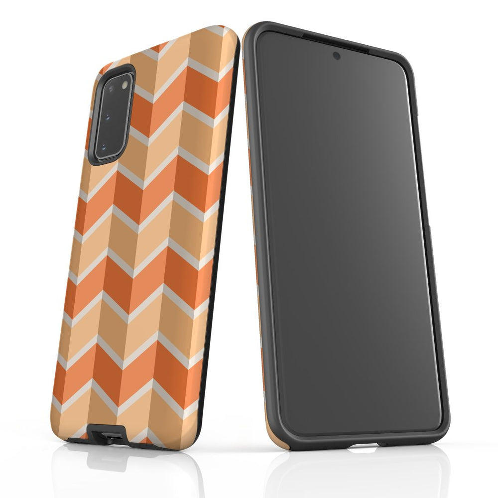 For Samsung Galaxy S20 Protective Case, Zigzag Salmon Pattern