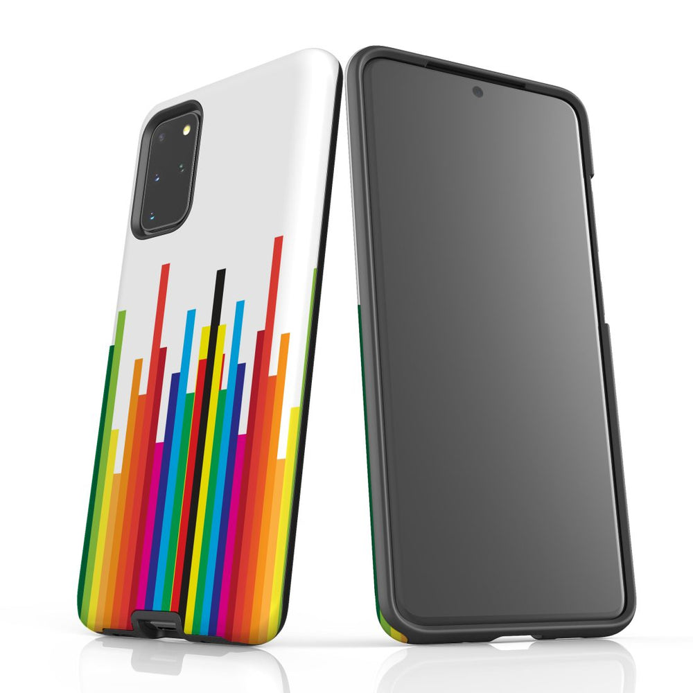 For Samsung Galaxy S20 Plus Protective Case, Rainbow Bar Pattern