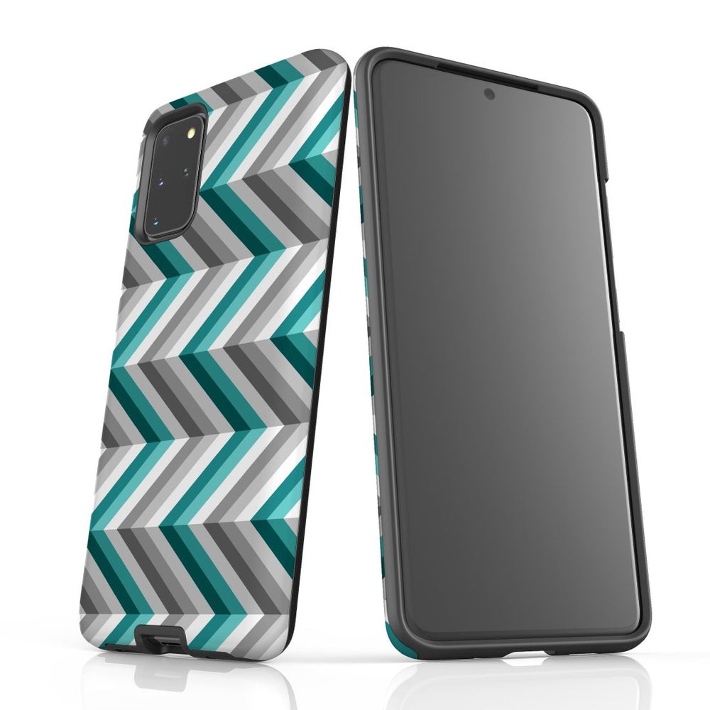 For Samsung Galaxy S20 Plus Protective Case, Zigzag Blue Grey Pattern