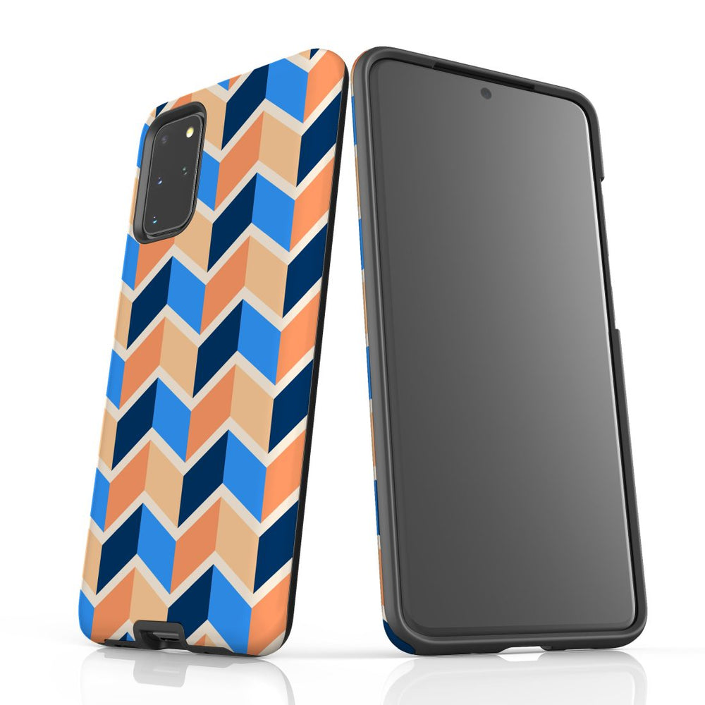 For Samsung Galaxy S20 Plus Protective Case, Zigzag Blue Orange Pattern