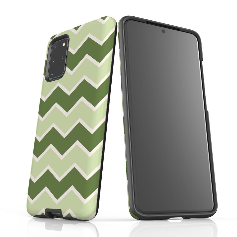 For Samsung Galaxy S20 Plus Protective Case, Zigzag Green Pattern