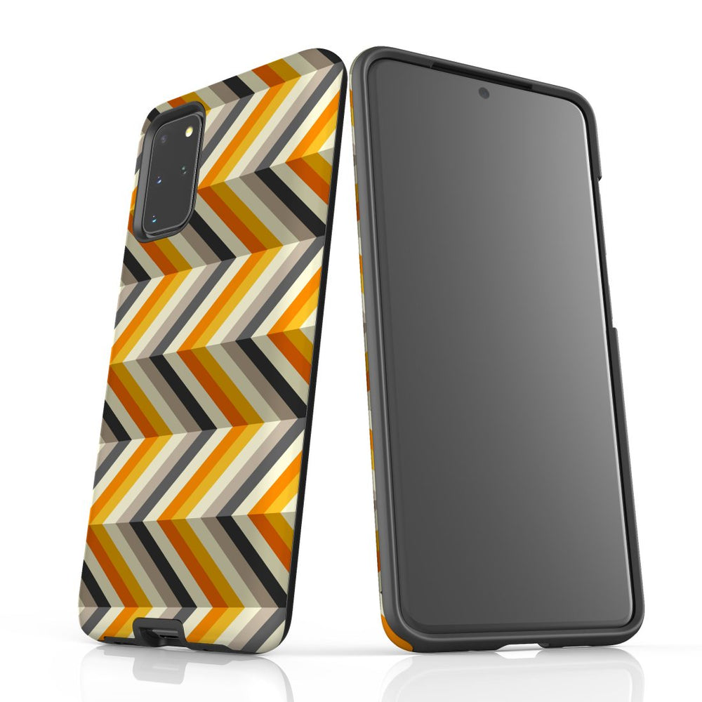 For Samsung Galaxy S20 Plus Protective Case, Zigzag Left Right Yellow Pattern