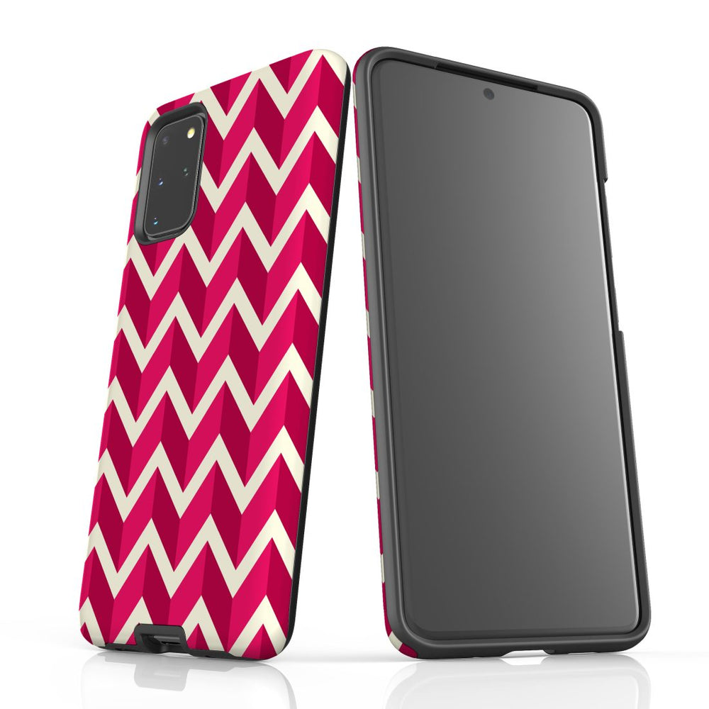 For Samsung Galaxy S20 Plus Protective Case, Zigzag Magenta Pattern