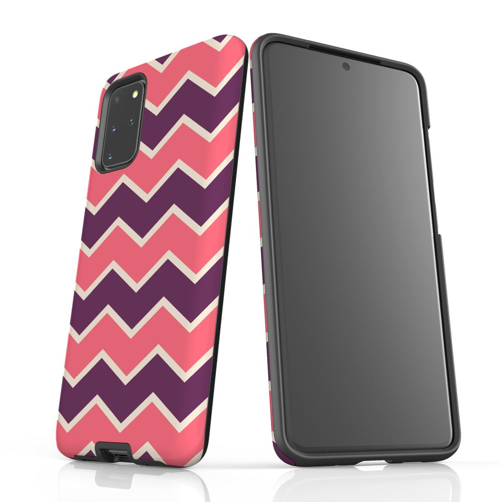 For Samsung Galaxy S20 Plus Protective Case, Zigzag Pink Purple Pattern