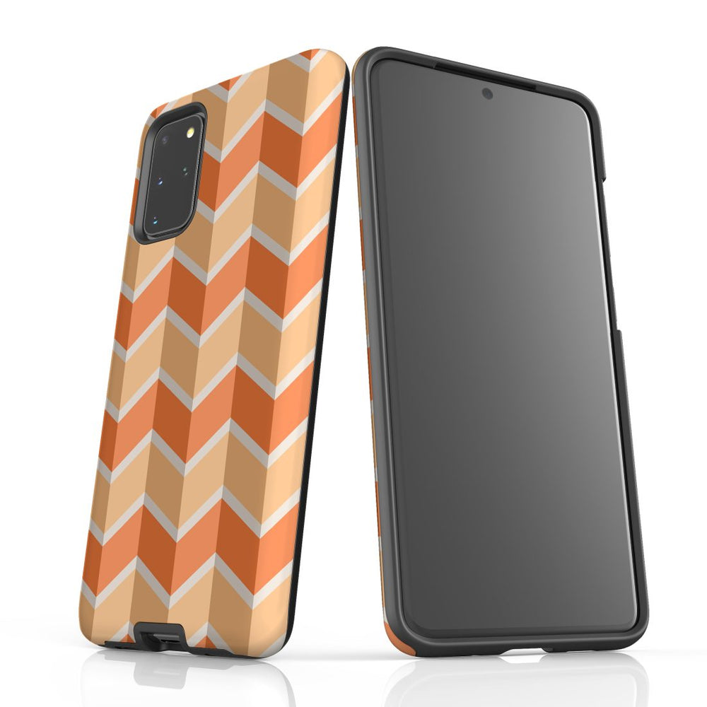 For Samsung Galaxy S20 Plus Protective Case, Zigzag Salmon Pattern