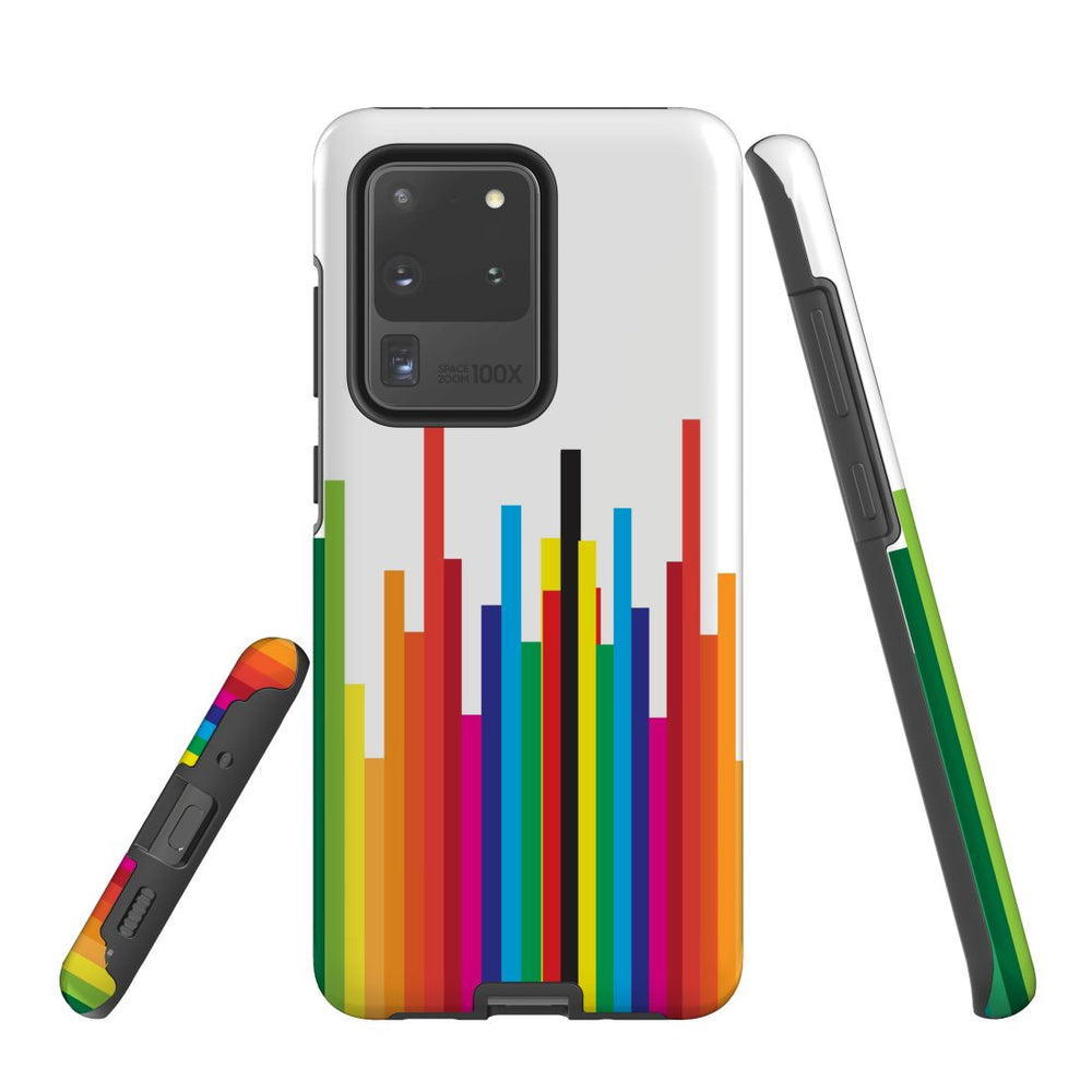For Samsung Galaxy S20 Ultra/S20+/S20,S10 5G/S10+/S10/S10e Protective Case, Rainbow Bar