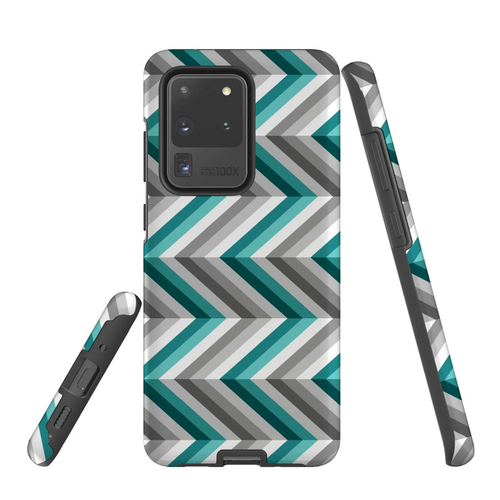 For Samsung Galaxy S20 Ultra/S20+/S20,S10 5G/S10+/S10/S10e Protective Case, Zigzag Blue Grey
