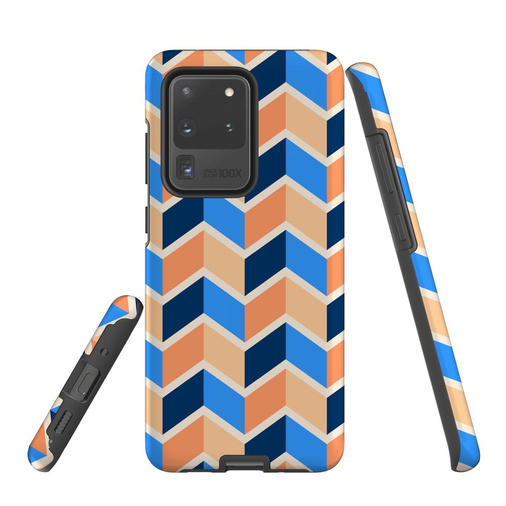 For Samsung Galaxy S20 Ultra Protective Case, Zigzag Blue Orange Pattern