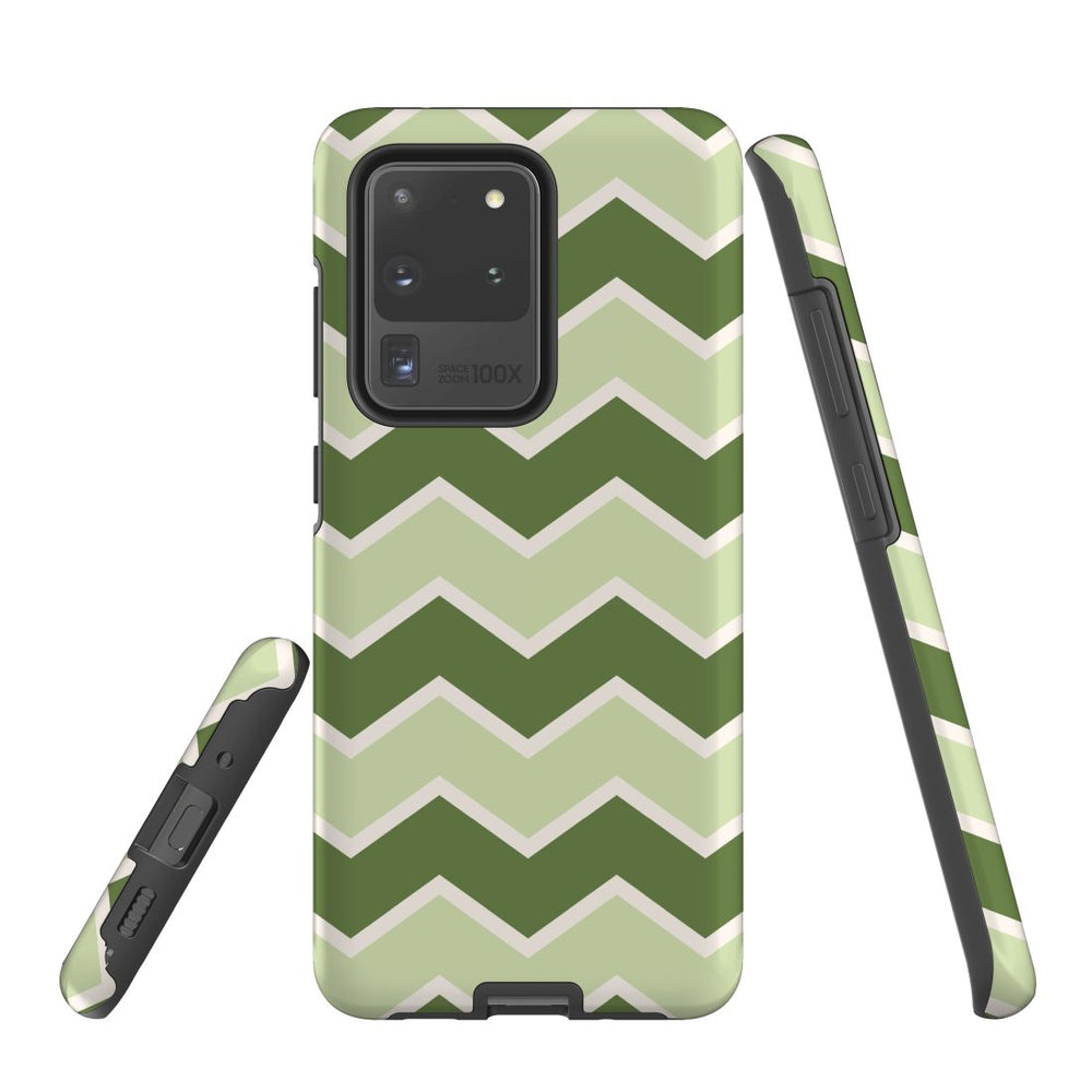 For Samsung Galaxy S20 Ultra/S20+/S20,S10 5G/S10+/S10/S10e Protective Case, Zigzag Green