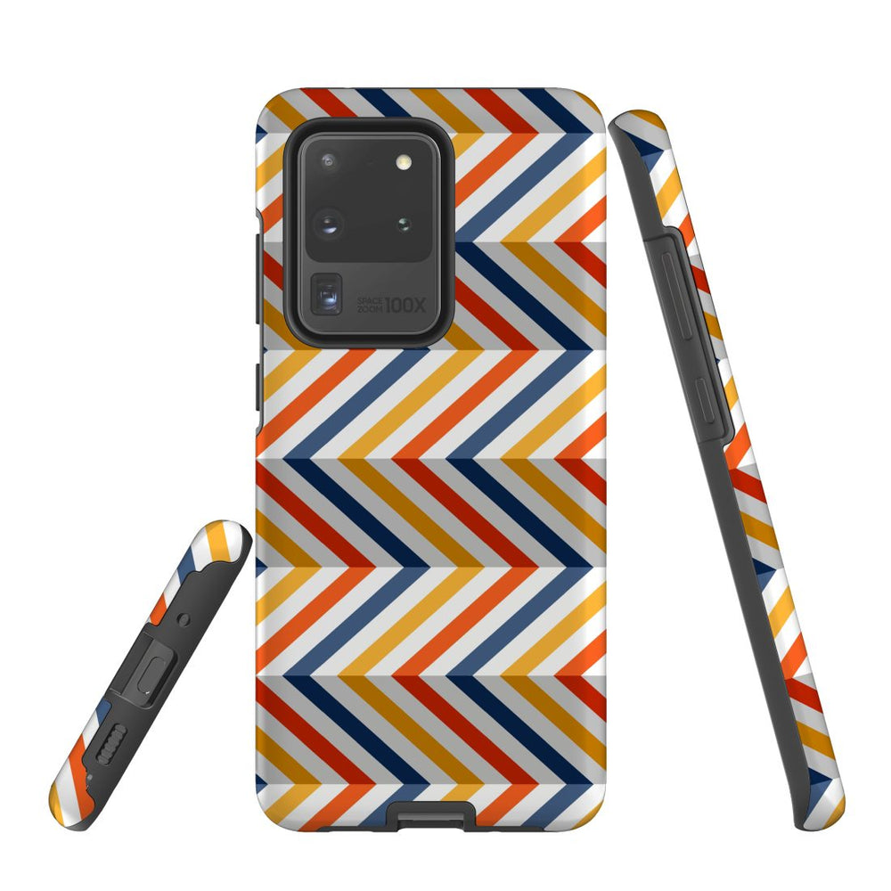 For Samsung Galaxy S20 Ultra Protective Case, Zigzag Left Right Colorful Pattern
