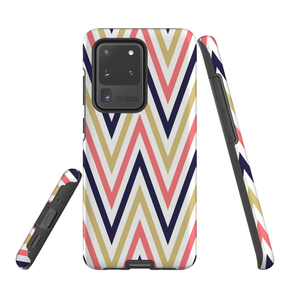 For Samsung Galaxy S20 Ultra/S20+/S20,S10 5G/S10+/S10/S10e Protective Case, Zigzag Salmon Purple