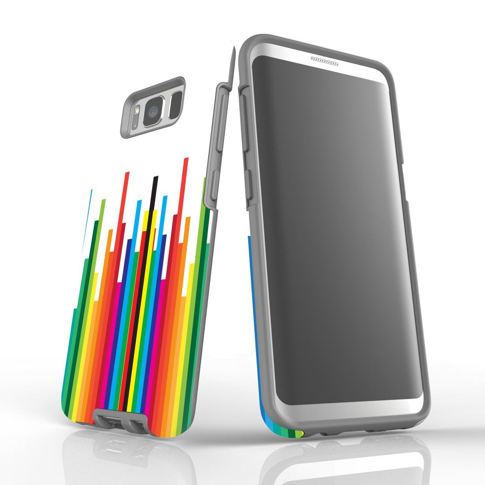 For Samsung Galaxy S8 Protective Case, Rainbow Bar Pattern