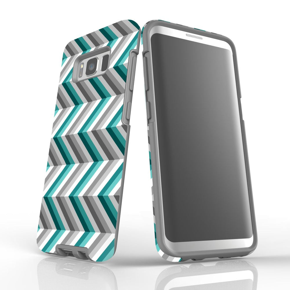 For Samsung Galaxy S8 Protective Case, Zigzag Blue Grey Pattern