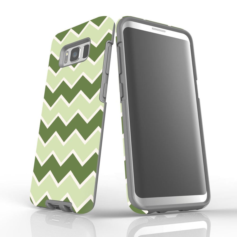 For Samsung Galaxy S8 Protective Case, Zigzag Green Pattern