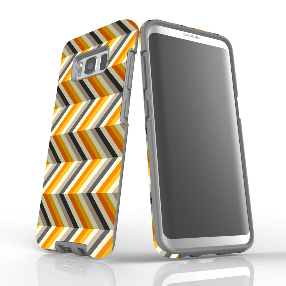 For Samsung Galaxy S8 Protective Case, Zigzag Left Right Yellow Pattern