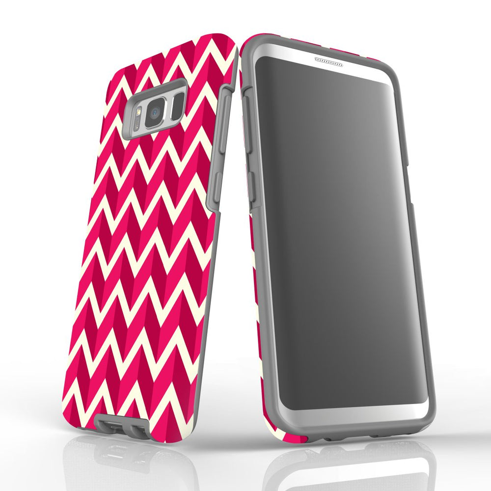 For Samsung Galaxy S8 Protective Case, Zigzag Magenta Pattern