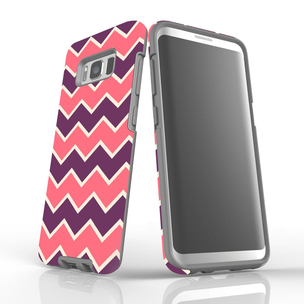 For Samsung Galaxy S8 Protective Case, Zigzag Pink Purple Pattern